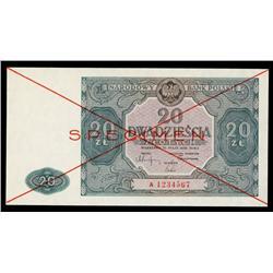 Narodowy Bank Polski, 1946 Second Issue Specimen.