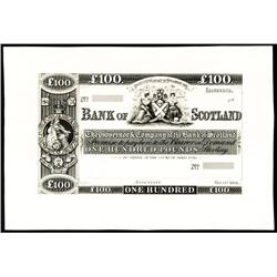 Bank of Scotland, ND (ca.1850's) Banknote Essay Proposal Proof.