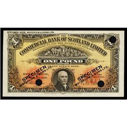 Commercial Bank of Scotland, 1927 Color Trial Specimen.