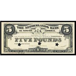 Netherlands Bank of South Africa Specimen Banknote.
