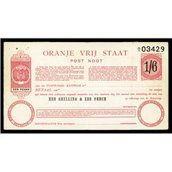 Orange Free State, Oranje Vrij Staat, Unlisted Post Noot, 1900 Issue.