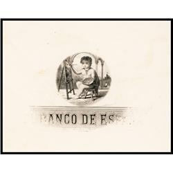 El Banco de Espana, 1866 Progress Proof Vignette Banknote Element.