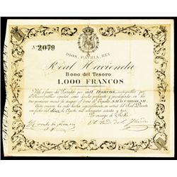 Pretenders Issue, 1873, Issued Carlos VII Bond.