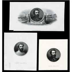 Jose Galvez Proof Portrait Trio Possibly Used on Banknotes.