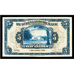 De Surinaamsche Bank Te Paramaribo, 1942 Issue.