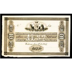 Malare Provinsernas Enskilda Bank, 1847 Issue Proof.