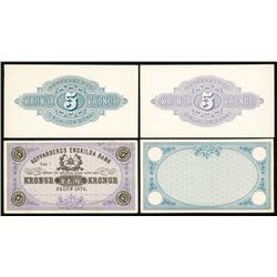 Kopparbergs Enskilda Bank, 1878 Issue Progress Proof Set of 4.