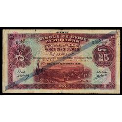 Syria, Banque De Syrie Et Du Liban, 1939.
