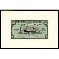 Royal Bank of Canada, Trinadad Branch, Proof Banknote, 1938 Issue.
