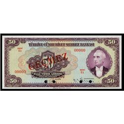 Central Bank of Turkey, 1942 Issue Specimen Banknote.