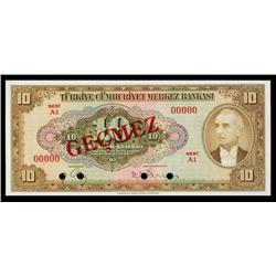 Central Bank of Turkey, 1948 Issue Specimen Banknote.