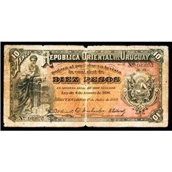 Banco De La Republica Oriental Del Uruguay, 1899 Issue Genuine Banknote.