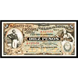 Banco De La Republica Oriental Del Uruguay, 1934 Specimen Banknote.