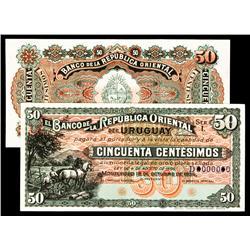 Banco De La Republica Oriental Del Uruguay, 1934 Uniface Specimen Pair.