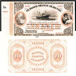 El Banco Franco-Plantense, 1870 Issue Proof.