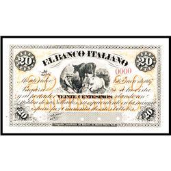 El Banco Italiano, Montevideo 1867 Issue Proof.