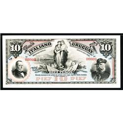 El Banco Italiano Del Uruguay 1887 Issue Proof.