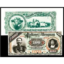 El Banco Italiano Del Uruguay 1887 Issue Specimen.