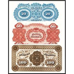 El Banco Italiano, Montevideo, 1867 Issue Proof Back Trio.