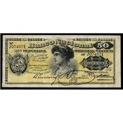 Banco Nacional de la Republica Oriental Del Uruguay, 1887 Issue.