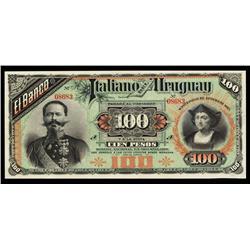 Banco Italiano Del Uruguay, 1887 Issue banknote.