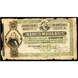 Banco Mauá & Ca., 1865 Issue Banknote.