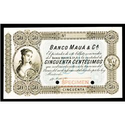 Banco Mauá & Ca., 1875 Issue Specimen Color Trial Banknote.