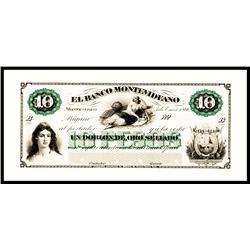 El Banco Montevideano, 1866 Issue Proof.
