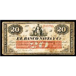 El Banco Navia y Ca., 1865 Issue Banknote.