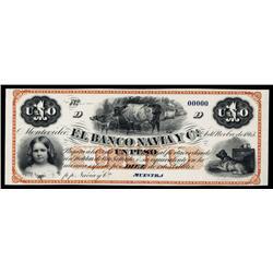El Banco Navia Y Ca. Proof Banknote.