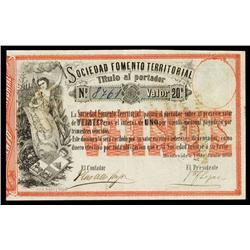 Sociedad Fomento Territorial, 1868 Issue Banknote.