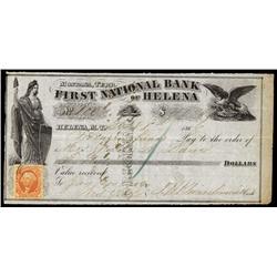 First National Bank of Helena, Montana Territory Draft.