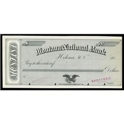 Montana National Bank, Helena, M.T. Specimen Check.