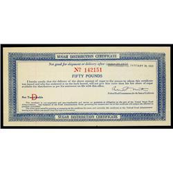 Sugar Distribution Certificate, WW I, California.