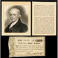Massachusetts State Lottery Ticket Signed by Revolutionary War Officer, Politician and Notable, Davi