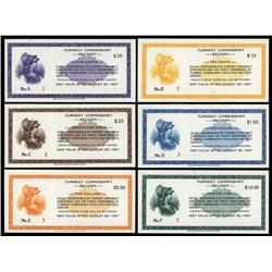Turnkey Commissary Receipt Issued Set of 6 Denominations All Serial #3.