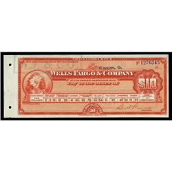 Wells Fargo & Company Traveler's Check.