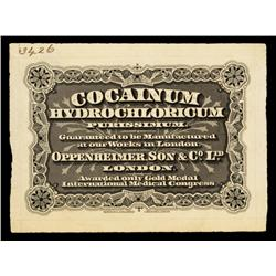 Waterlow Medical Label Proof Cocainum Hydrochloricum.