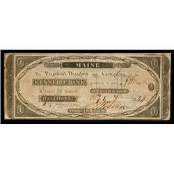 Kennebec Bank Obsolete Banknote.
