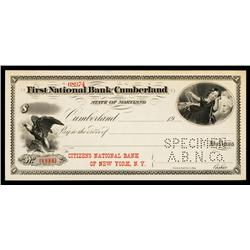First National Bank of Cumberland, Specimen Check.