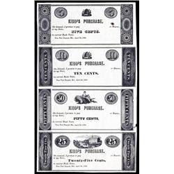 Kidd's Purchase Scrip Note Sheet of 4 from Maryland.