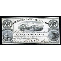 Patapsco Bank of Maryland Obsolete Banknote Certificate of Deposit.