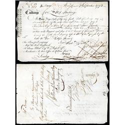 Principio Company Colonial Bill of Exchange.