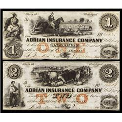 Adrian Insurance Company Obsolete Banknote Pair.