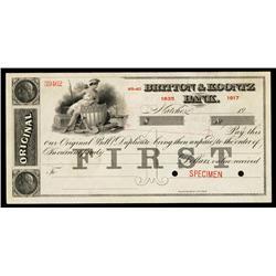 Britton & Kountz Bank, Specimen Check.