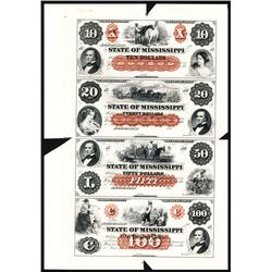 State of Mississippi Uncut Sheet of 4 Proofs.