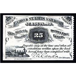 Cairo & St. Louis Railroad Obsolete Scrip Note.