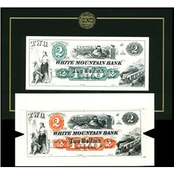 White Mountain Bank Large Die Proof Color Trial in Red.