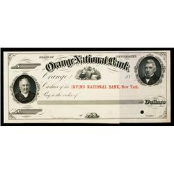 Orange National Bank Specimen Check.