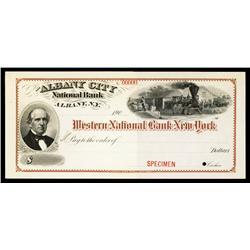 Albany City National Bank Specimen Check.